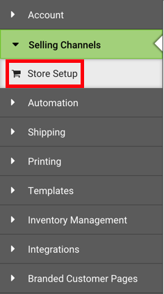 Left-hand sidebar. Under Selling Channels, red box highlights Store Setup